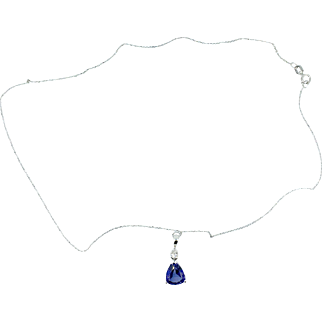 Synthetic Blue Sapphire and Diamond Necklace set in 10K White Gold