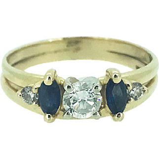 Vintage 14k Yellow Gold Diamond Solitaire with a Diamond & Sapphire Wrap Ring