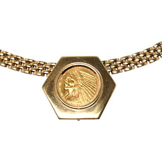 1911 $2.50 Regular Strike Indian Head Gold Coin In Fancy 14K Hexagon Bezel with Panther Link Chain
