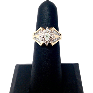 Vintage Marquise Diamond Ring with Halo and Baguettes!