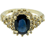 Vintage 14K Yellow Gold Dark Blue Sapphire and Diamond Ring