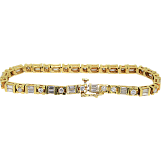 18k Yellow Gold Round & Baguette Diamond Ladies Tennis Bracelet