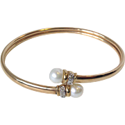 Vintage Flexible bangle bracelet with 2 Cultured Pearls and Accent Diamonds and 10K gold