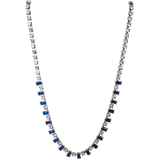 Blue and White Vintage Glass Costume Necklace with adjustable chain