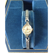Vintage Swiss Ladies Tradition 17 Jewels Watch with Crystal, 14K white gold, and expandable bracelet