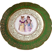 GFB & Co Porcelain Plate with fashion ladies, green rim and gold outlines