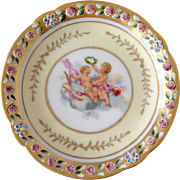 Vintage small plate with baby painting and gold painted rim