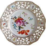 Vintage Bavaria Porcelain Plate with Beautiful flower painting and hole rim