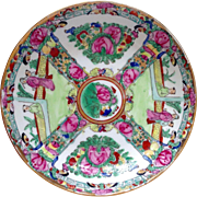 Vintage Japanese Porcelain Ware Rose Medallion Bowl Decorated in Hong Kong