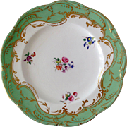 Vintage Porcelain Plate with Green and 24K Gold Rim and Painted Flowers