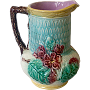 Antique mid 1800s Majolica Pitcher with Pink flowers
