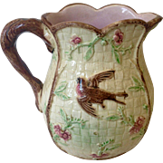 Antique 1800s Thomas Forester English Majolica Pitcher with brown bird and pink flowers