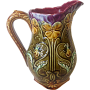 Antique 1800s French Majolica Pitcher with Pansy