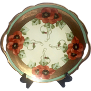 Handpainted Vintage Limoges Plate with Handles and Pickard style design