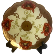 Small Vintage Limoges plate Handpainted Pickard Style Red Poppies