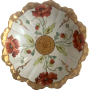 Vintage Limoges Bowl with Handpainted Pickard Style Poppies & RARE signature