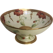 Limoges Pedestal Bowl with Handpainted Pickard Design and RARE Signature