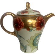 Limoges Teapot with Handpainted Pickard Design & RARE Signature