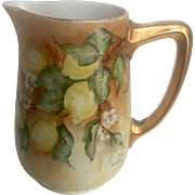 Vintage German Pitcher with Rare Signature & Date with Handpainted Lemon Design