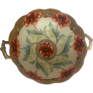 Large Antique Limoges Bowl with Handles and Handpainted Pickard Design