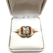 Men's Art Deco Diamond And Ruby Ring in 10K Yellow Gold