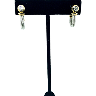 14k yellow gold with Silver Diamond Earrings