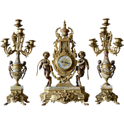 Imperial Brevettato Mantle Clock & Candelabra Garniture Set Italy