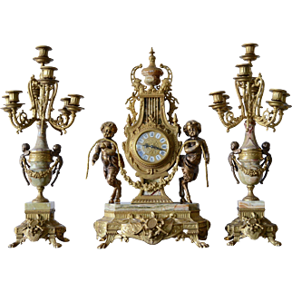 Imperial Brevettato Mantle Clock & Candelabra Garniture Set Italy