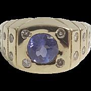 Purple Tanzanite with Diamond Ring
