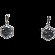 Sterling SIlver Irradiated Blue Diamond Earrings