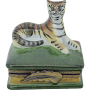Limoges Hand Crafted Tiger Box