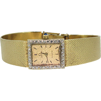 Vintage 14k Yellow Gold Omega with Diamonds Ladies Watch