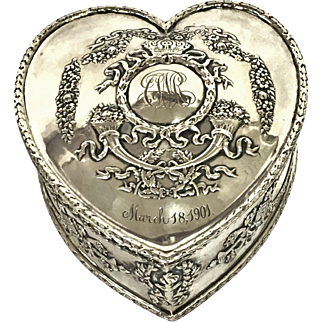 Antique Bailey, Banks & Biddle Sterling Silver Heart Shaped Box