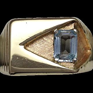 Mens aquamarine ring in 10k yellow gold