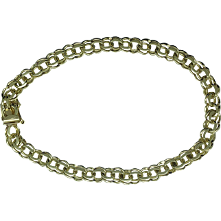 Double 6mm curb link charm bracelet in 14ky