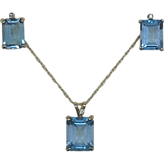 Swiss Blue Emerald Cut Topaz Pendant and Earrings in 10K yellow gold