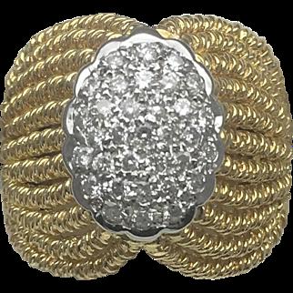 Vintage Multi-Strand Rope Design Diamond Cluster ring-14k Yellow Gold