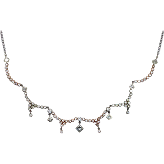 Royal Treasure Diamond Necklace - 14kt White & Rose Gold