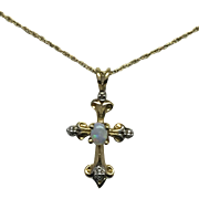 Created Opal Cross Pendant - 10k Yellow Gold