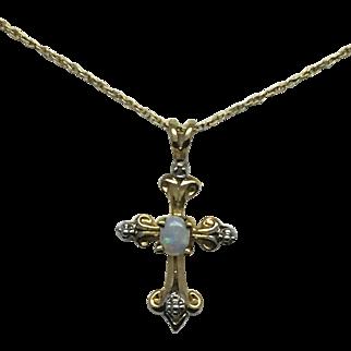 Created Opal Cross Pendant - 10k Yellow Gold