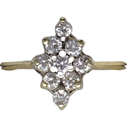 Marquis Shaped Diamond Cluster Ring - 14kt Yellow Gold