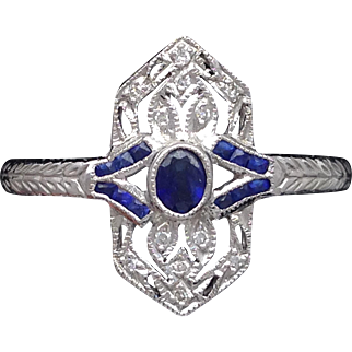 Filigree sapphire and diamond engraved ring in 14k white gold