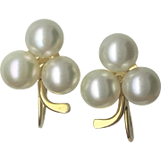 Cultured Pearl nonpierced screwback cluster earrings - 14k yellow gold