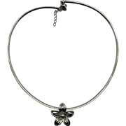 Sterling Silver Omega Necklace and Flower Pendant