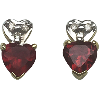 Red Heart CZ Earrings With Diamond Accents- 10k Yellow Gold