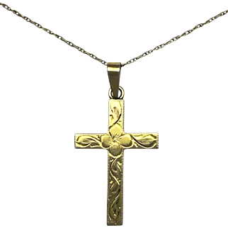 Engraved Cross - 10k Yellow Gold