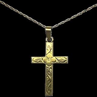 Engraved Cross - 10k Yellow Gold
