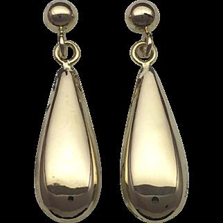 Puffed Teardrop Dangle Earrings - 14k Yellow Gold