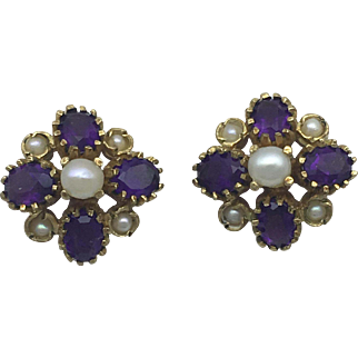 Vintage Amethyst and Pearl Earrings- Yellow Gold