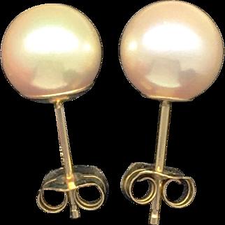 Vintage 7mm Pearl Stud Earrings - 14k Yellow Gold
